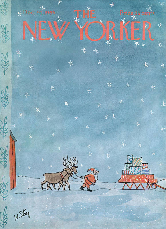 William Steig Wst Santa Claus Chris Kris Kringle Saint St Nick Christmas Xmas Holiday Reindeer Deer Sled Sleigh Snow Snowing Eve Present Presents Gift Gifts Toy Toys Sumnerok William Steig Wst Artkey 49920 Poster featuring the painting New Yorker December 24th, 1966 by William Steig