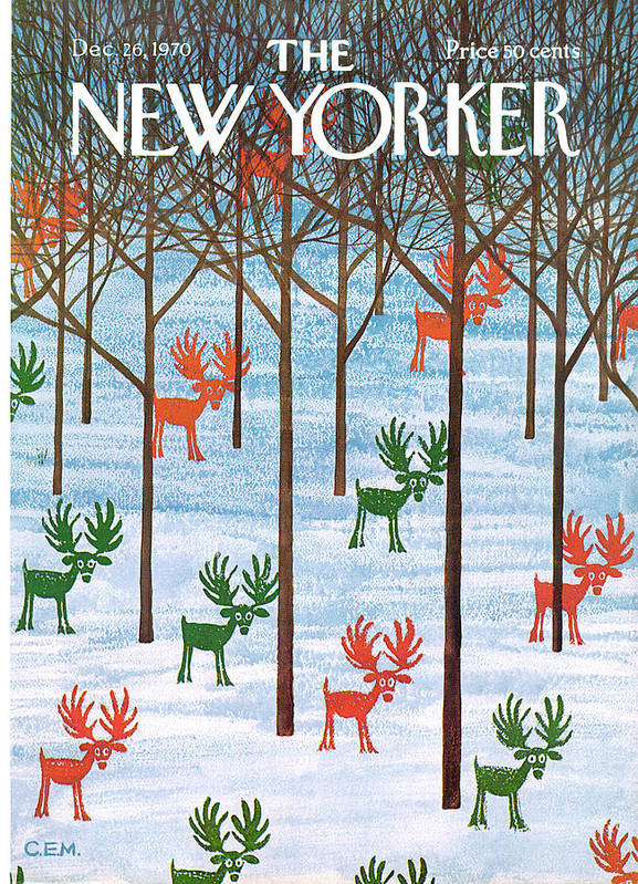 Holidays Poster featuring the painting New Yorker December 26th, 1970 by Charles E Martin