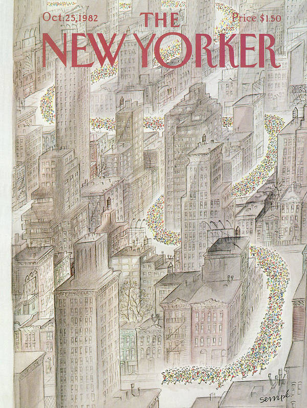 Marathon Poster featuring the painting New Yorker October 25th, 1982 by Jean-Jacques Sempe