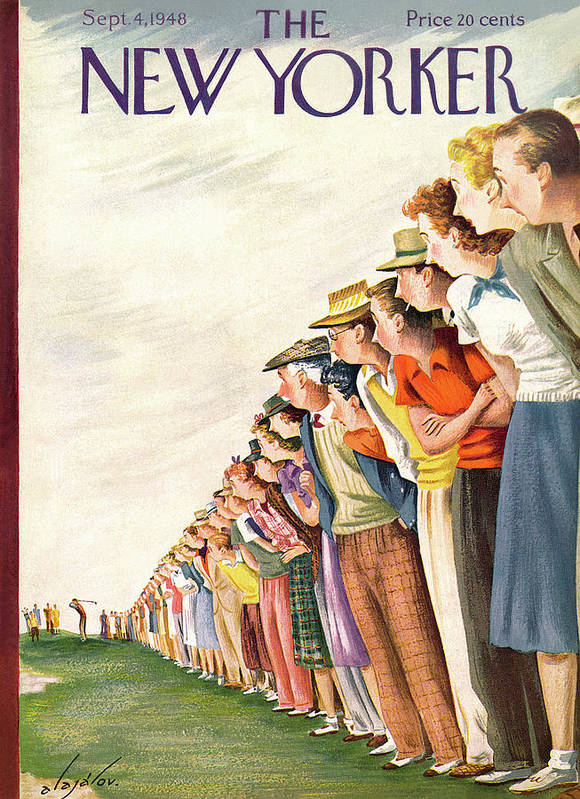 Sports Sports Athlete Athletics Game Player Players Team Fans Golf Golfer Golfing Green Iron Tee Caddy Sandtrap Hole In One Constantine Alajalov Cal Sumnerok Artkey 49071 Poster featuring the painting New Yorker September 4th, 1948 by Constantin Alajalov