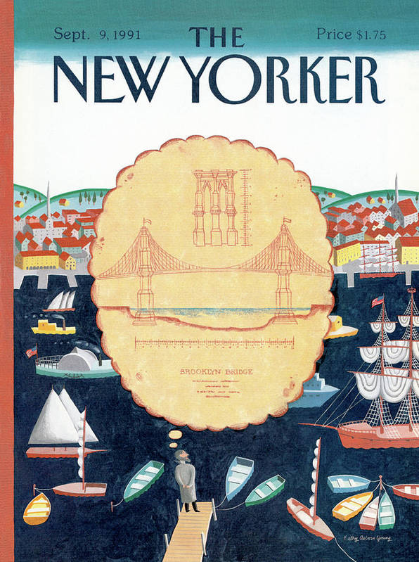 New York Poster featuring the painting New Yorker September 9th, 1991 by Kathy Osborn