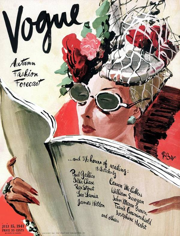 Fashion Poster featuring the photograph Vogue Cover Illustration Of A Woman Reading by Rene Bouet-Willaumez