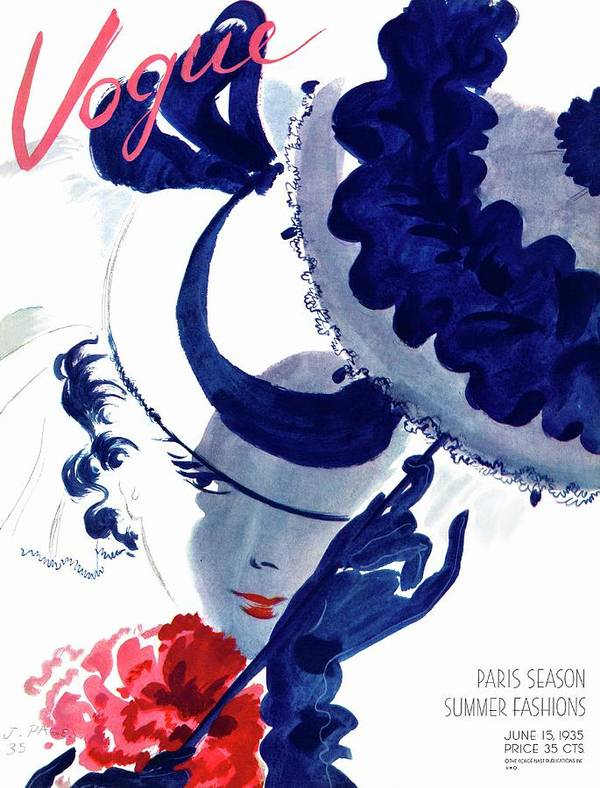 Illustration Poster featuring the photograph Vogue Magazine Cover Featuring A Woman Holding by Jean Pages