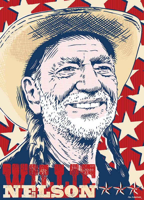Music Poster featuring the digital art Willie Nelson Pop Art by Jim Zahniser