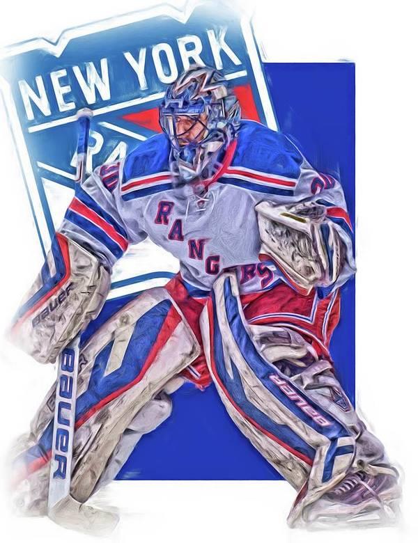 Henrik Lundqvist New York Rangers Oil Art Poster By Joe Hamilton