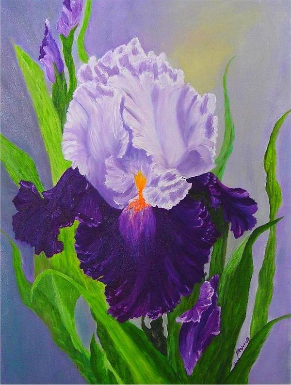 Floral Painting Poster featuring the painting Iris by Peggy Holcroft