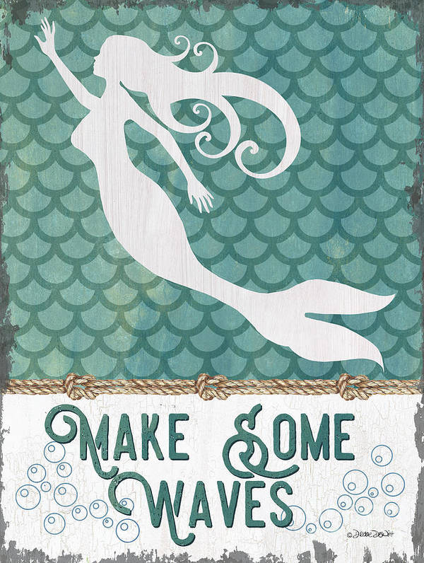 Mermaid Poster featuring the painting Mermaid Waves 1 by Debbie DeWitt