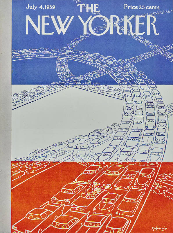 Bumper To Bumper Poster featuring the painting New Yorker July 4 1959 by Anatole Kovarsky