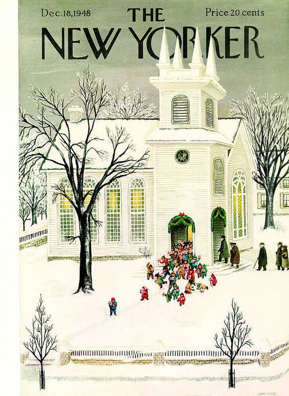 Holidays Poster featuring the painting New Yorker December 18, 1948 by Edna Eicke