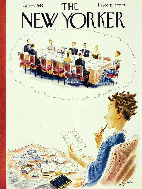 Illustration Poster featuring the painting New Yorker January 4, 1947 by Constantin Alajalov