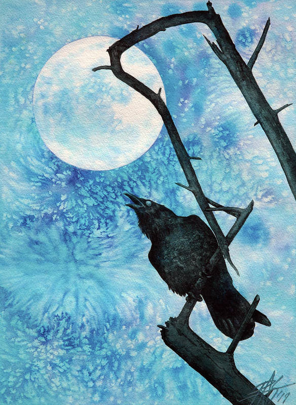 Raven Poster featuring the painting Raven with Torrey Pine Branch and Cold Moon by Robin Street-Morris