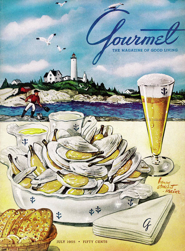 Entertainment Poster featuring the painting Gourmet Cover of Clams and Beer by Henry Stahlhut