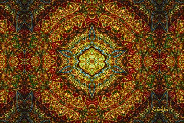 Mandala Byzantine-style Multi-colored-tan-brown Base Poster featuring the mixed media Stained Glass Gas Ring Mandala by Richard H Jones