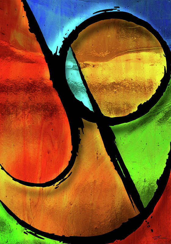 Joy Poster featuring the mixed media Joy-abstract by Shevon Johnson