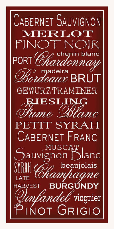 Wine List Poster featuring the digital art Wine List Red by Rebecca Gouin