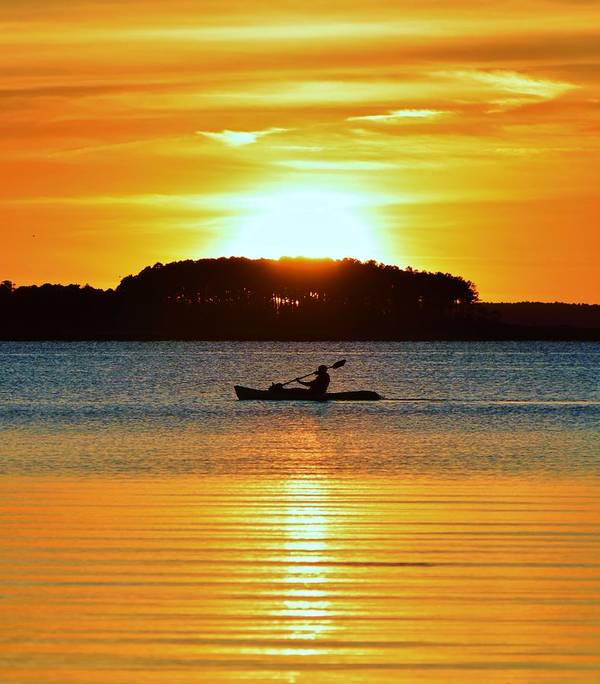 Kayak Poster featuring the photograph A Reason To Kayak - Summer Sunset by William Bartholomew