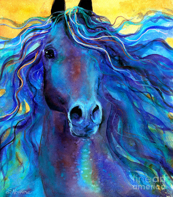 Arabian Horse Painting Poster featuring the painting Arabian Horse #3 by Svetlana Novikova