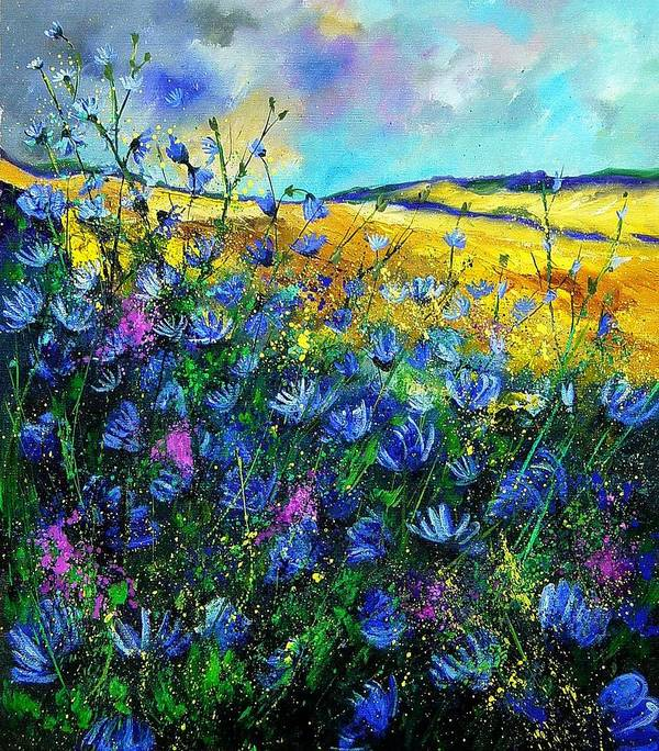Flowers Poster featuring the painting Blue Wild Chicorees by Pol Ledent