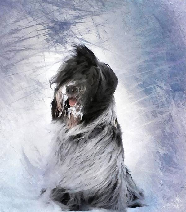 Animal Poster featuring the digital art Little Doggie In A Snowstorm by Gun Legler