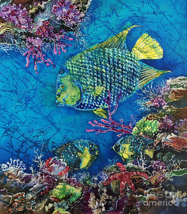 Angelfish Poster featuring the painting Queen Of The Sea by Sue Duda