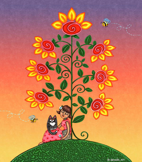 Folk Art Poster featuring the painting She Is Life Barnes And Noble by Victoria De Almeida