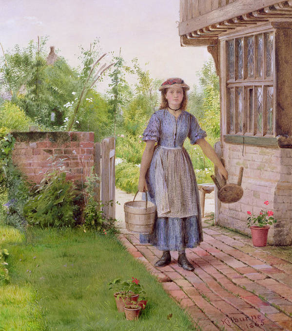Pail; Geranium; Stool; Edwardian Poster featuring the painting The Young Milkmaid by George Goodwin Kilburne