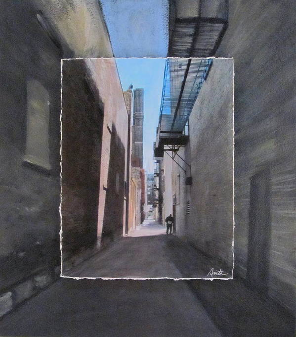 Alley Poster featuring the mixed media Alley With Guy Reading Layered by Anita Burgermeister