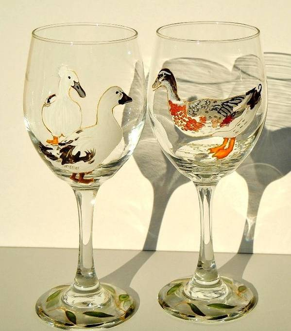 Ducks Poster featuring the glass art Ducks On Wineglasses by Pauline Ross