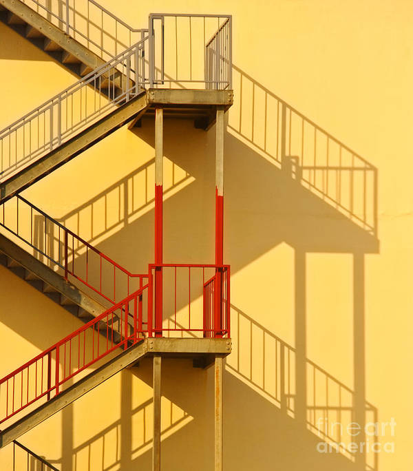 Architectural Detail Poster featuring the photograph Fire Escape And Shadow by David Buffington