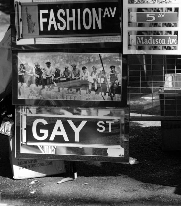 Black And White Poster featuring the photograph Lunch Time Between Fashion Ave And Gay St In Black And White by Rob Hans