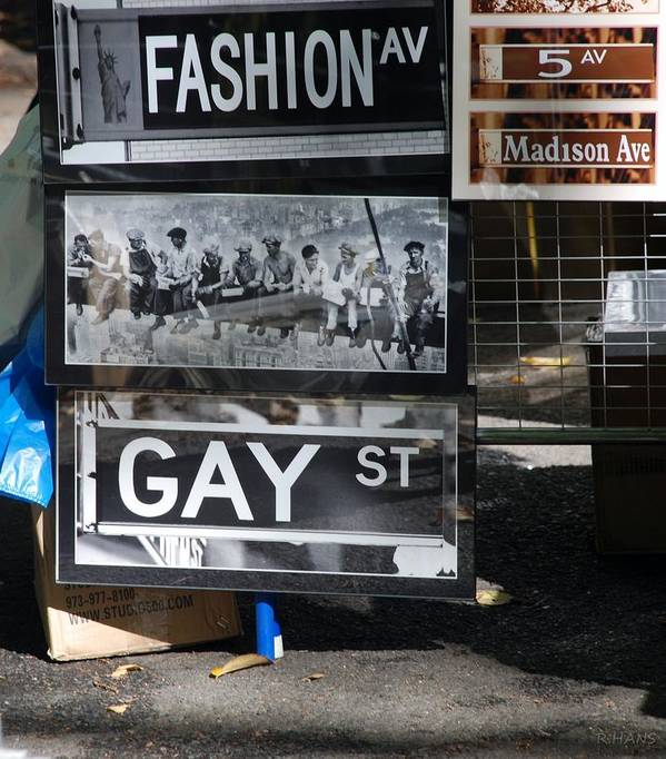 Black And White Poster featuring the photograph Lunch Time Between Fashion Ave And Gay Street by Rob Hans