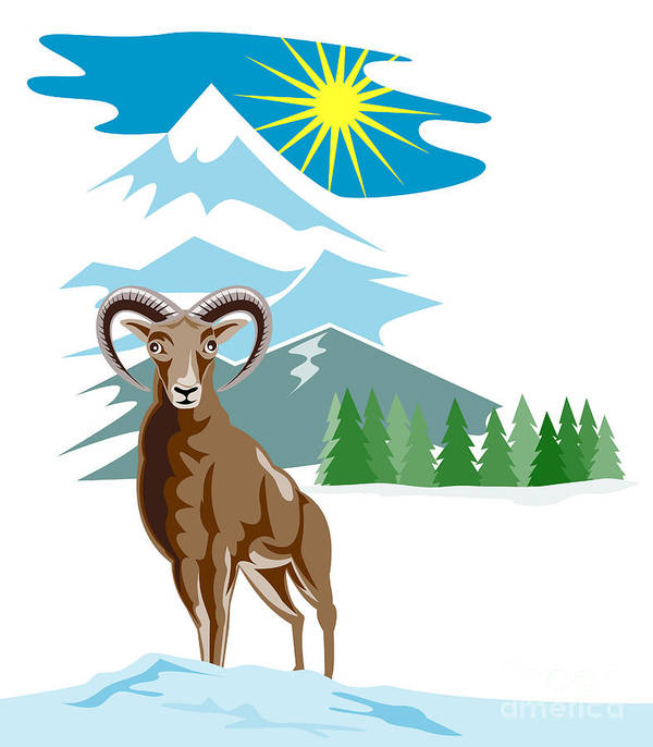 Mountain Goat Poster featuring the digital art Mouflon Sheep Mountain Goat by Aloysius Patrimonio