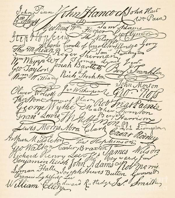 Signatures Attached To The American Declaration Of Independence Of 1776 Poster featuring the painting Signatures Attached To The American Declaration Of Independence Of 1776 by Founding Fathers