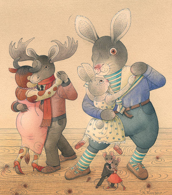Dance Love Flirt Party Evening Poster featuring the painting Rabbit Marcus The Great 04 by Kestutis Kasparavicius