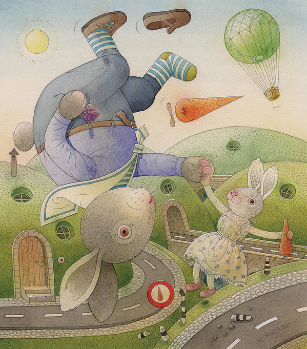 Love Flirt Summer Green Landscape Sky Poster featuring the painting Rabbit Marcus The Great 05 by Kestutis Kasparavicius
