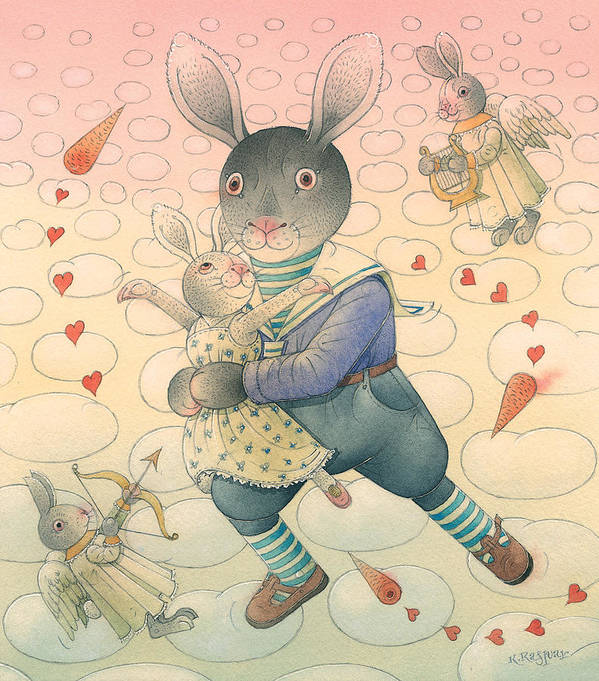 Dance Flirt Love Sky Romantic Poster featuring the painting Rabbit Marcus The Great 06 by Kestutis Kasparavicius