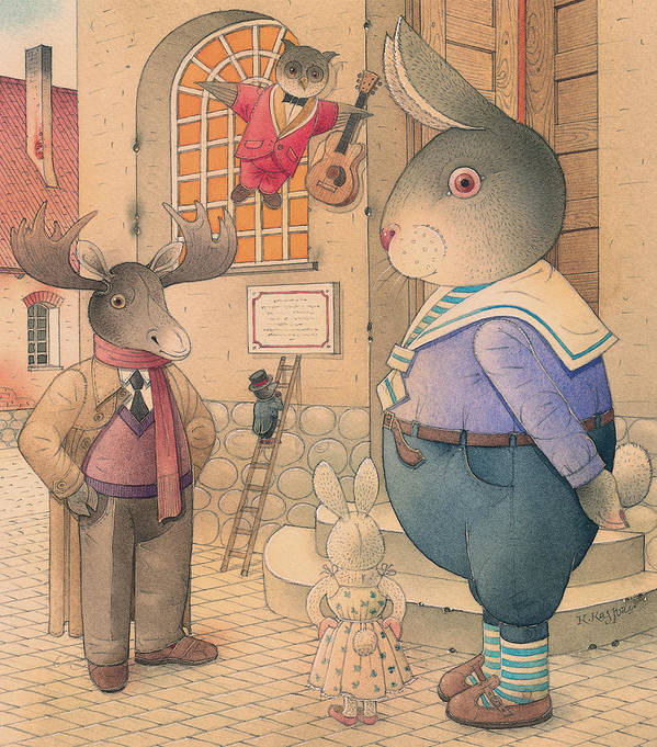 Party Evening Dance Rabbit Town Poster featuring the painting Rabbit Marcus The Great 21 by Kestutis Kasparavicius