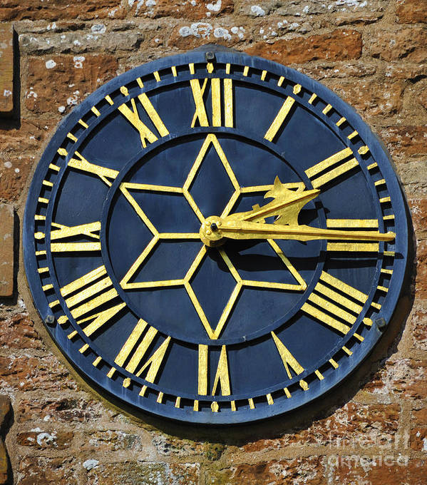 Clock Church Gold Hands Roman Numerals Church Saint Mary Magdalene Hayton Cumbria England United Kingdom Europe Poster featuring the photograph Clock With Gold Hands. by Stan Pritchard