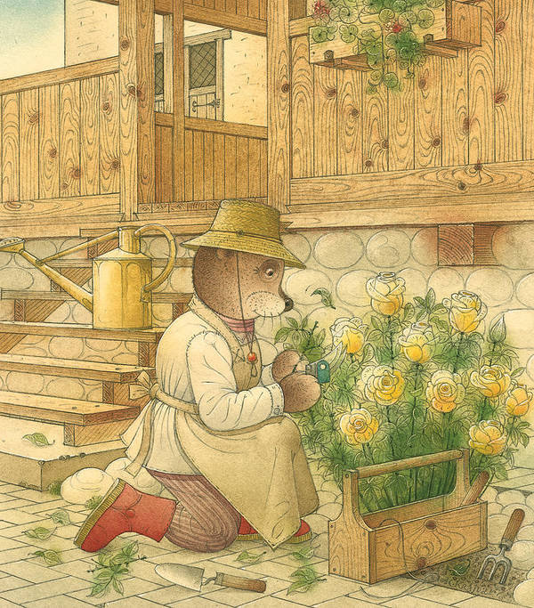 Bears Flowers Roses Garden Love Poster featuring the painting Florentius The Gardener04 by Kestutis Kasparavicius