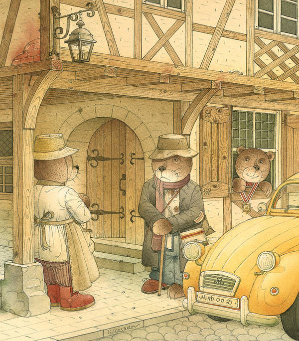 Bears Town Brown Poster featuring the painting Florentius The Gardener15 by Kestutis Kasparavicius