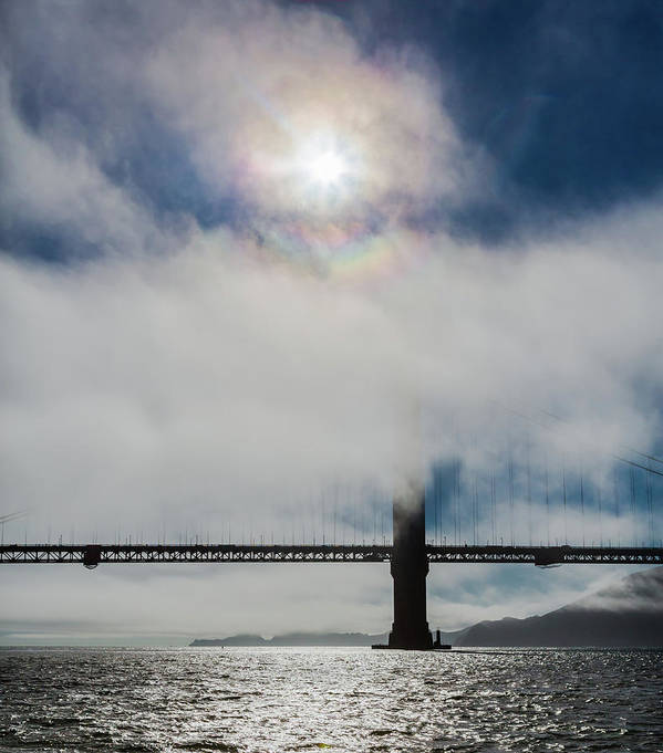 Golden Gate Bridge Poster featuring the photograph Golden Gate Silhouette And Rainbow by Scott Campbell
