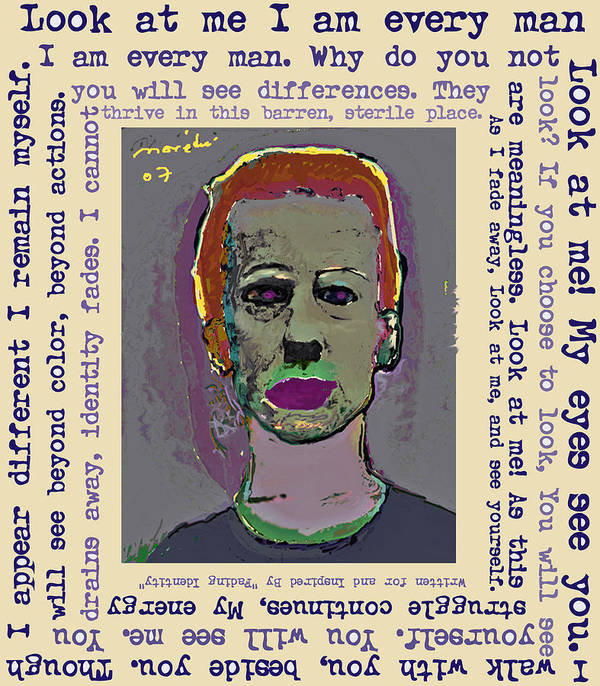 Portrait/ Poem Poster featuring the mixed media Look At Me by Noredin Morgan