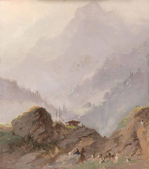 Nature Poster featuring the painting Mountain Landscape In Tirol With Chamois, Johannes Tavenraat, C. 1858 by Johannes Tavenraat