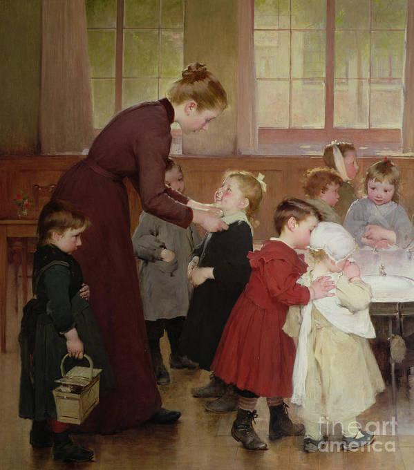 Nursery School Poster featuring the painting Nursery School by Hneri Jules Jean Geoffroy