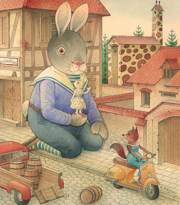 Rabbit Animal Red Love Flirt Town Poster featuring the painting Rabbit Marcus The Great 03 by Kestutis Kasparavicius