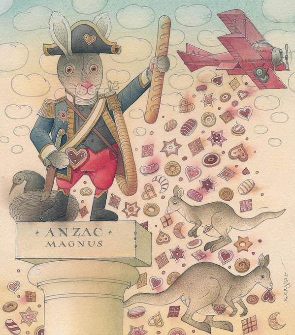 Rabbit Delicious Sky Illustration Animal Humour Poster featuring the painting Rabbit Marcus The Great 12 by Kestutis Kasparavicius