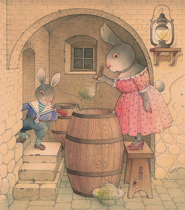 Rabbit Animal Cellar Delicious Pink Brown Poster featuring the painting Rabbit Marcus The Great 20 by Kestutis Kasparavicius