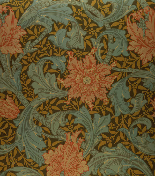 'single Stem' Wallpaper Design Poster featuring the tapestry - textile 'single Stem' Wallpaper Design by William Morris