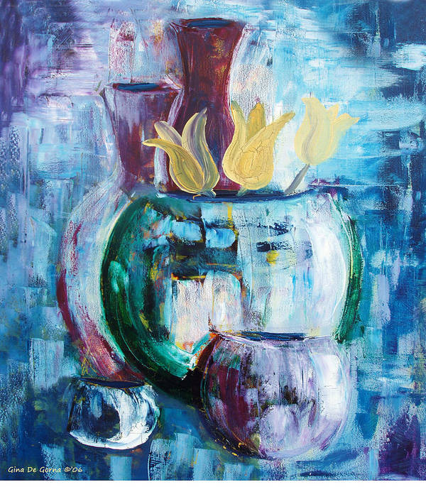 Still Poster featuring the painting Still Life With Yellow Tulips by Gina De Gorna