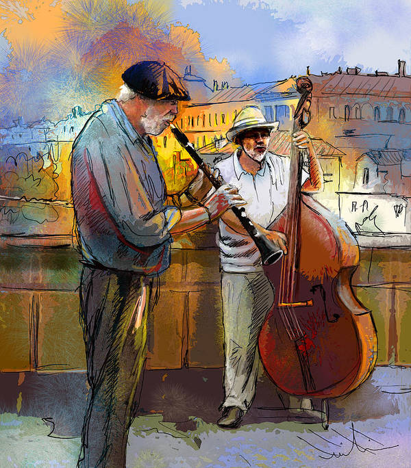 Music Poster featuring the painting Street Musicians In Prague In The Czech Republic 01 by Miki De Goodaboom